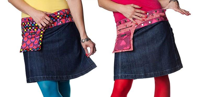 Moshiki knielange Jeans-Röcke
