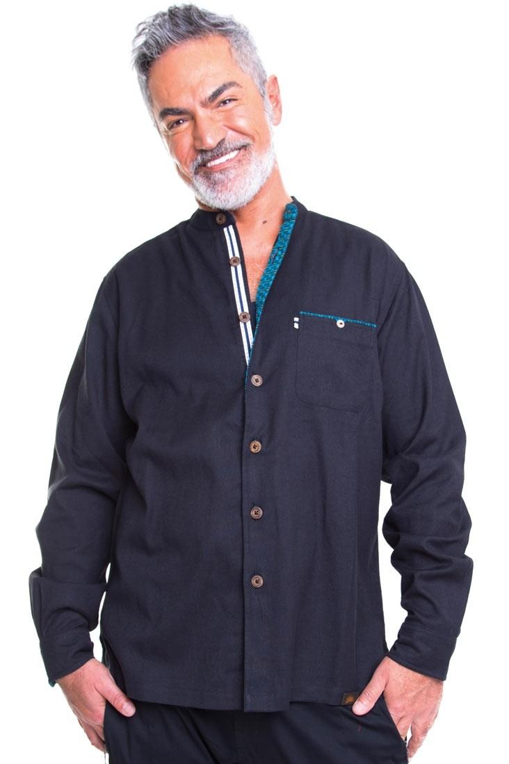 Chapati Herrenhemd aus Baumwolle & Leinen Gr. S schwarz
