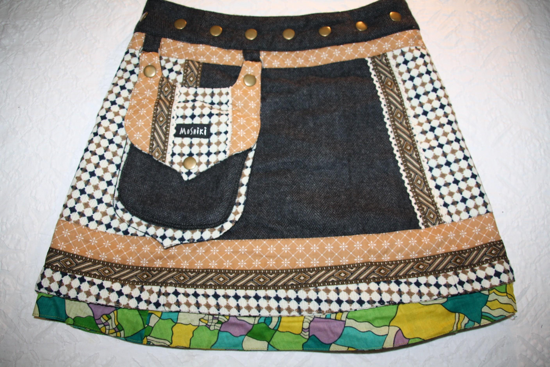 MOSHIKI Hot Cookie #11 Tweed short - edler kurzer Woll-Wickel-Rock mit abnehmbarer Tasche 36100 beige / braun / bunt