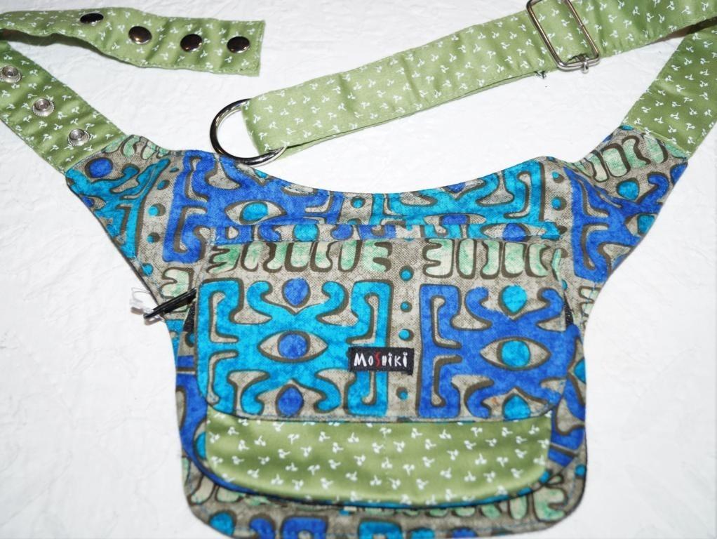 Moshiki Hot Belt #6 LONDON Hüfttasche mit praktischen Unterteilungen 8721 maigrün / blau