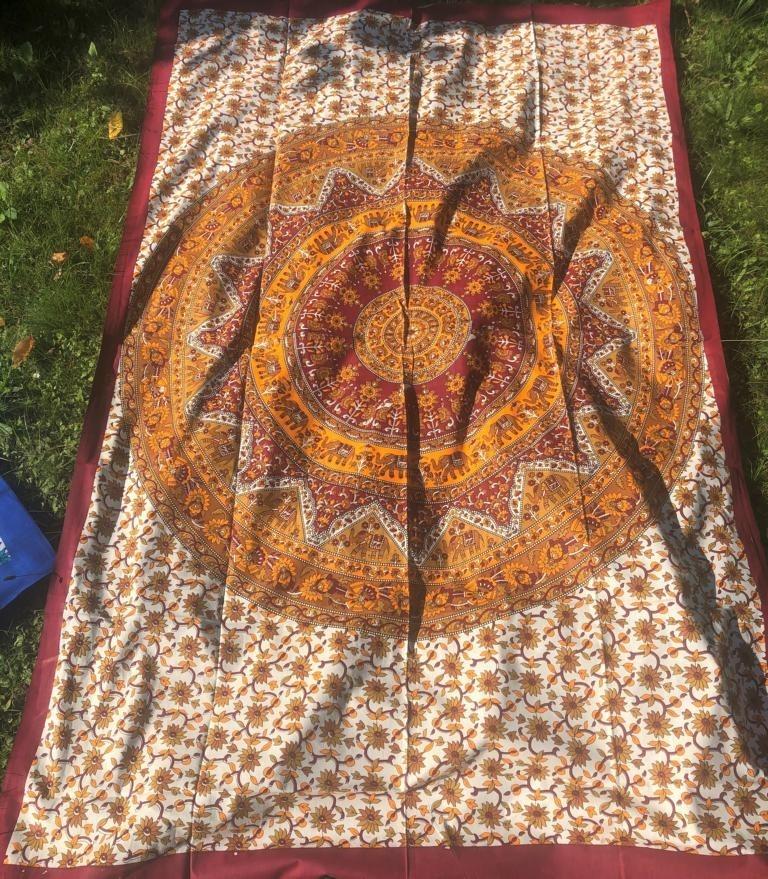 Mandala Tuch * 100% Baumwolle * Nr. 36 gelb / braun