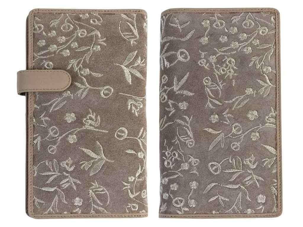 Shag Wear Leder Geldbörse Portemonnaie Langbörse * Blümchen bestickt * Obermaterial Wildleder mit Kunstleder gefüttert