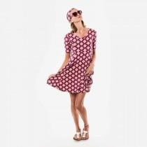 Moshiki Kleid Viscose Jersey pink Blumen Gr. M