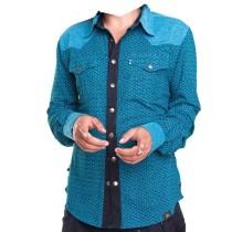 Chapati Herrenhemd aus 95% Bio Baumwolle Gr. S petrol / schwarz