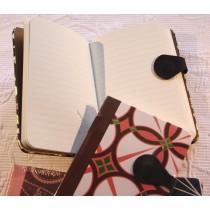 Prachtvolles Notizbuch liniert mit Magnetverschluß - braun / orange / grün / weiß