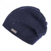 Moshiki Jannu weiche Strick Mütze mit Strasssteinchen dunkelblau