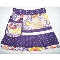 Moshiki #3 Sommer Kinder-Wende-Wickel-Röckchen Baumwolle Kollektion 2020 mit abnehmbarer Tasche Größe 110-152 - 8715 lila / organe / weiß
