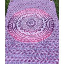 Mandala Tuch * 100% Baumwolle * Nr. 02 pink / weiß