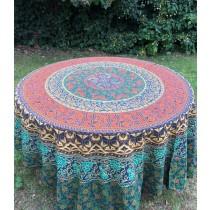 Mandala Tuch * 100% Baumwolle * Nr. 21 türkis / orange / bunt