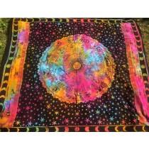 Mandala Tuch * 100% Baumwolle * Nr. 39 schwarz / bunt / Sternzeichen