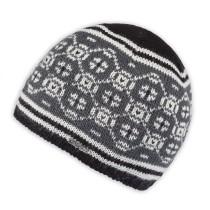 Moshiki Leena Woll-Strick-Mütze schwarz / weiß