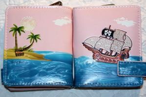 """Kurzbörse Portemonnaie """" Piratenschiff """" - mit gr. Münzfach & Reißverschluss"""
